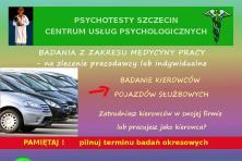 Psychotesty. Kompleksowe badania kierowców. Promocyjna cena.