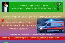 PSYCHOTESTY SZCZECIN. BADANIA LEKARSKIE I PSYCHOLOGICZNE DLA KIEROWCÓW. NOWY ADRES