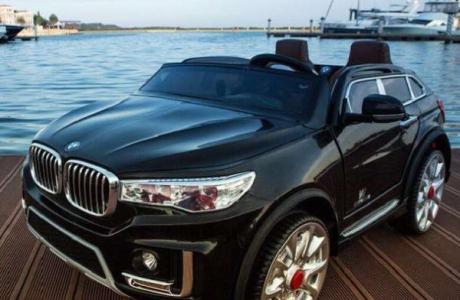 BMW X7 dwuosobowe pojazd na akumulator skóra, miekkie koła  dla blizniaków